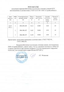 Протокол испытаний керамзитобетонные блоки